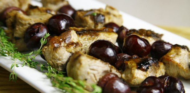 Bone Suckin' Grilled Pork and Cherry Skewers Recipe
