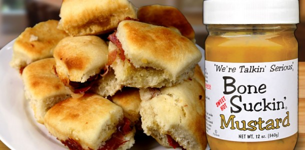 Add our Bone Suckin' Sweet/Spicy Mustard to your ham biscuits and make everyone happy!