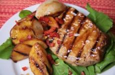 Bone Suckin' Grilled Pork Chops and Peaches Recipe