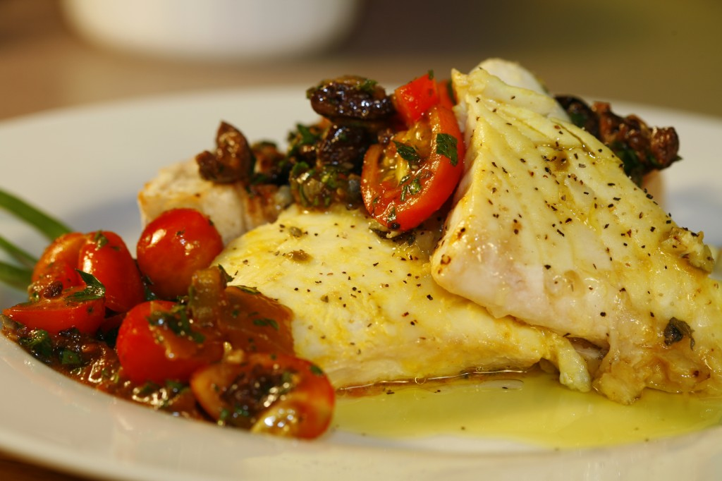 Bone Suckin'® Halibut with Puttanesca Salsa Recipe
