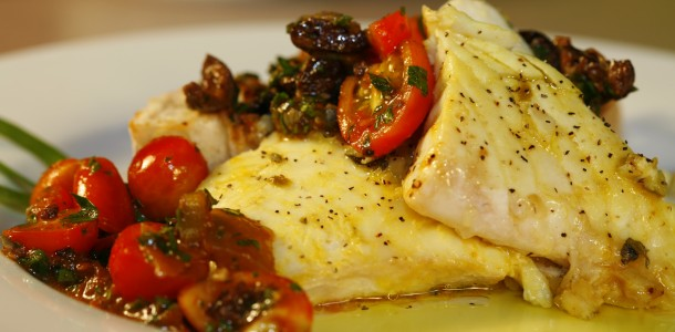 Bone Suckin Halibut with Puttanesca Salsa Recipe