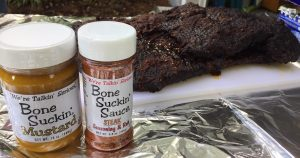Use our Bone Suckin' Mustard and Bone Suckin' Steak Seasoning & Rub to massage flavor into your brisket of beef before it is even cooked! Once cooked it will be so delicious!