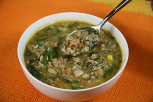 Bone Suckin Sauce Bone Suckin Turkey Lentil Soup with Spinach