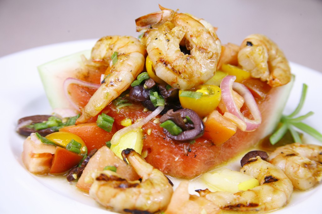 Bone Suckin'® Grilled Shrimp and Watermelon Salad Recipe