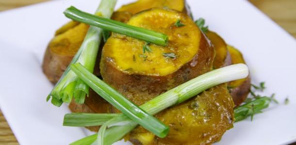 Bone Suckin' Mustard Sweet Potatoes Recipe
