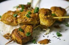 Bone Suckin' Chicken Skewers with Peanut Sauce Recipe