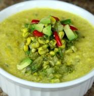 Bone Suckin' Corn Chowder with Guacamole Recipe