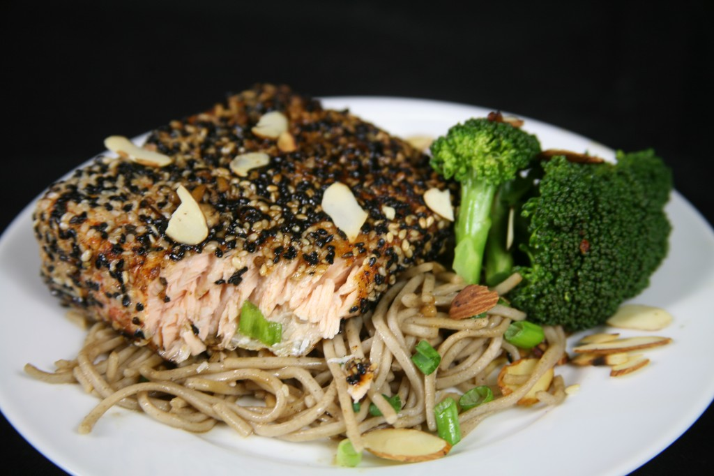 Bone Suckin'® Sesame Salmon with Soba Noodles Recipe