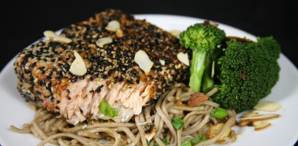 Bone Suckin' Sesame Salmon with Soba Noodles Recipe
