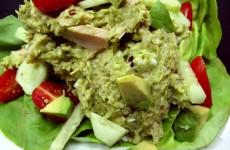 Our Bone Suckin' Avocado Tuna Salad Recipe has a kick because of the addition of some Bone Suckin' Hiccuppin' Hot sauce!