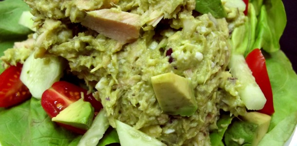 Our Bone Suckin' Avocado Tuna Salad Recipe has a kick because of the addition of some Bone Suckin' Hiccuppin' Hot sauce!