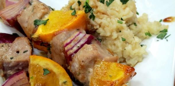 Bone Suckin' Skewered Tuna with Oranges and Onions Recipe