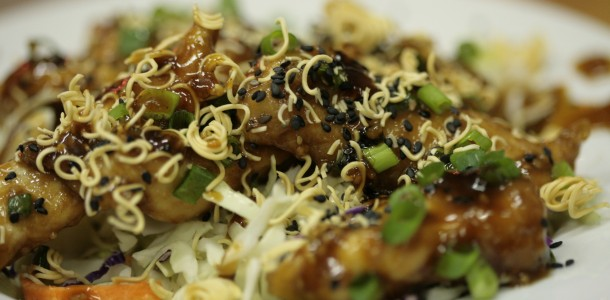 Try this Bone Suckin' Asian Chicken Salad Recipe, it is super good.