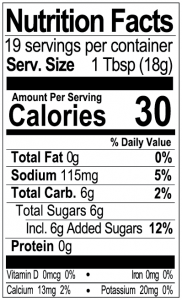 Bone Suckin Mustard Nutritional Panel