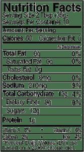 Bone Suckin' Wing Sauce Honey Habanero Nutritional panel