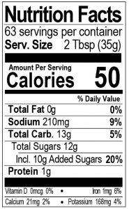 Bone Suckin Sauce 78 oz Nutritional Panel