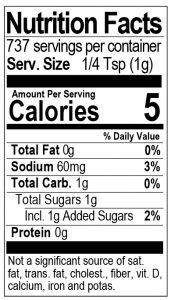 Bone Suckin Seasoning & Rub 26 oz. Nutritional Panel